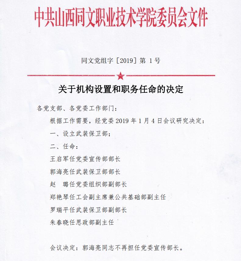 院党组字【2019】1关于机构设置和职务聘任的决定
